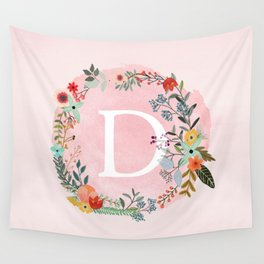 Flower Wreath with Personalized Monogram Initial Letter D on Pink Watercolor Paper Texture Artwork Wall Tapestry