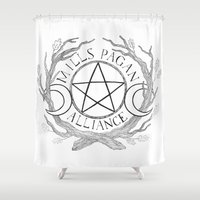 college Shower Curtains featuring Mills College Pagan Alliance Logo by Rowan Weir