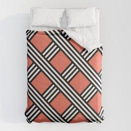 Pantone Living Coral, Black & White Diagonal Stripes Lattice Pattern Comforters