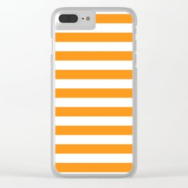 Sacral Orange and White Stripes Clear iPhone Case
