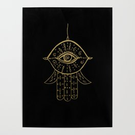 Hamsa Hand Gold on Black #1 #drawing #decor #art #society6 Poster