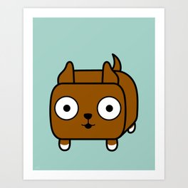 Pitbull Loaf - Red Brown Pit Bull with Cropped Ears Art Print