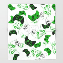 Video Game White and Green Throw Blanket