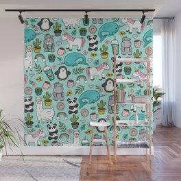 Narwhal and Friends, Emoji Tween Print, Pre-teen Girls, Unicorns, Panda, Llamas and Doughnuts Wall Mural