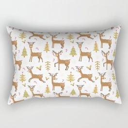Pastel green brown cute Christmas deer festive pattern Rectangular Pillow
