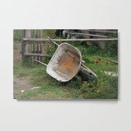 Wheelbarrow on a Farm Metal Print