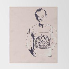 Keith Haring Cartoon Portrait illustration Throw Blanket