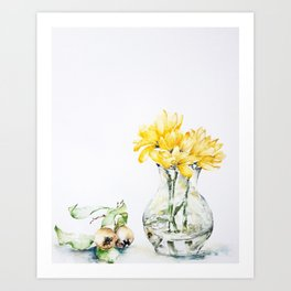 Yellow flowers and fruits Art Print