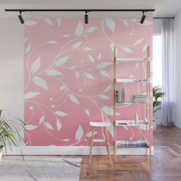 FLOWERY VINES | pink white Wall Mural