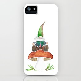 Gnome Sitting on a Mushroom iPhone Case