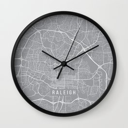 Raleigh Map, North Carolina USA - Pewter Wall Clock