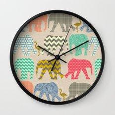 baby elephants and flamingos linen Wall Clock