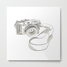 35mm SLR Film Camera Drawing Metal Print