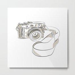 35mm SLR Film Camera Drawing Metal Print