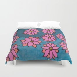 Pink and Blue Dahlia Print Duvet Cover