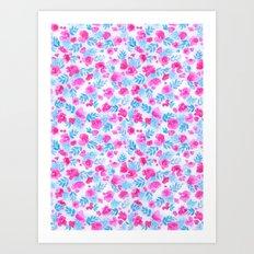Floret Pink Aqua Ditsy Art Print