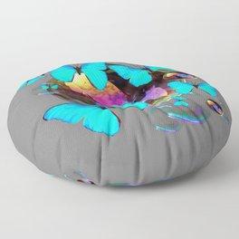 ABSTRACT NEON BLUE BUTTERFLIES & SOAP BUBBLES GREY COLOR Floor Pillow