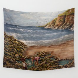 Rock Pools at Ogmore Wall Tapestry