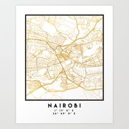 NAIROBI KENYA CITY STREET MAP ART Art Print