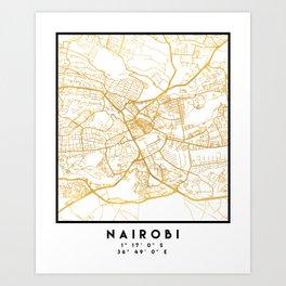 NAIROBI KENYA CITY STREET MAP ART Art Print