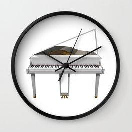 White Grand Piano Wall Clock