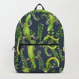 Leaves and geckos on dark Backpack