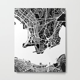 Street MAP Hong Kong // Black&White Metal Print