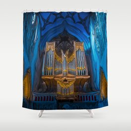 Blue Cathedral Gold Pipe Organ Shower Curtain