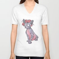 lucy V-neck T-shirts featuring Lucy by theroyalbubblemaker