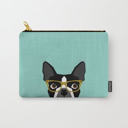 Darby - Boston Terrier pet design with hipster glasses in bold and modern colors for pet lovers Carry-All Pouch