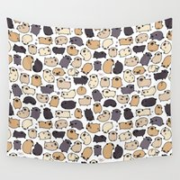 puppies Wall Tapestries featuring Pug Life Doodle by KiraKiraDoodles