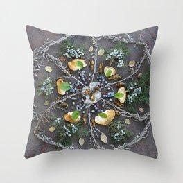 Nature Mandala: February Throw Pillow
