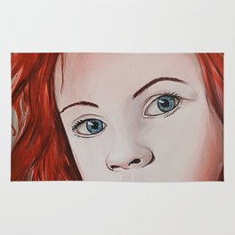 girl with red hair Rug