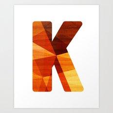Letter K - Wood Initial  Art Print