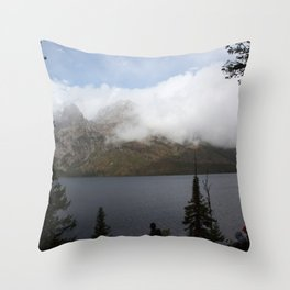 Snow Capped Mountains and Lake Throw Pillow