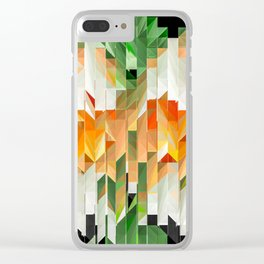 Geometric Tiled Orange Green Abstract Design Clear iPhone Case