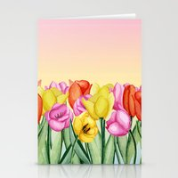tulips Stationery Cards featuring Tulips by Julia Badeeva