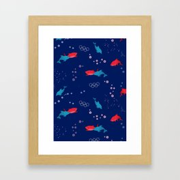 Blue Dolphin and Red Shark Olympic Framed Art Print
