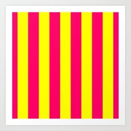 Bright Neon Pink and Yellow Vertical Cabana Tent Stripes Art Print