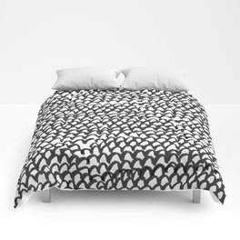 Hand painted monochrome waves pattern Comforters