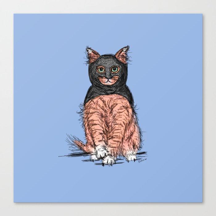 Periwinkle Pink Bat Cat Canvas Print