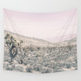 Mojave Pink Dusk // Desert Cactus Landscape Soft Cloudy Sky Mountain Scape Photograph Wall Tapestry