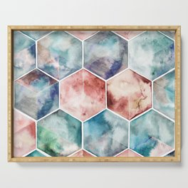 Earth and Sky Hexagon Watercolor Serving Tray