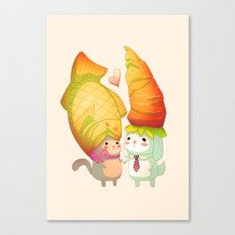 Taiyaki and carrots in love Canvas Print