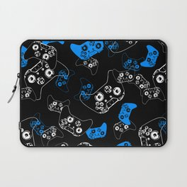 Video Game Blue on Black Laptop Sleeve