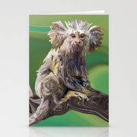 psychadelic Stationery Cards featuring Melanie's Marmoset by Distortion Art