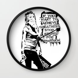 Banksy, If You Want To Achieve Greatness, Stop Asking For Permission, Artwork, Tshirts, Prints, Post Wall Clock