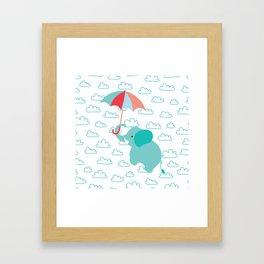 Elephant with umbrella , nursery decor , Framed Art Print
