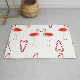 Red Flamingos With Candy. Happy New Year and Merry Christmas Rug
