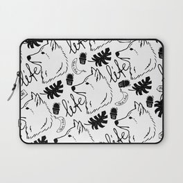 Black white hand drawn wolf floral typography Laptop Sleeve